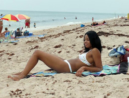 Beautiful ebony Nina Belle in white..