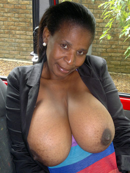 Busty ebony matures show big boobs